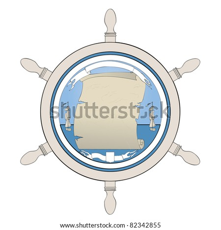 An old map showing a treasure. Ancient ship, steering wheel and the globe. - stock vector