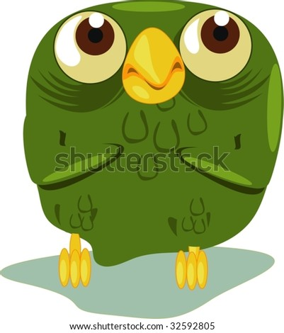 An old owl close up - stock vector