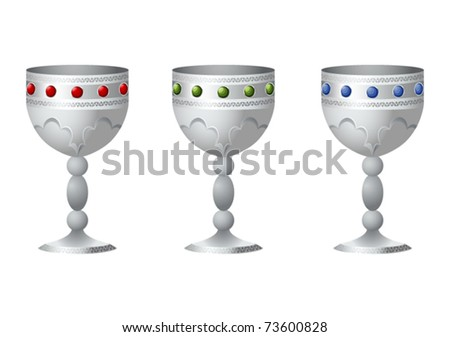 An old silver goblet with jewels - stock vector