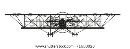an old World War One biplane facing you - stock vector