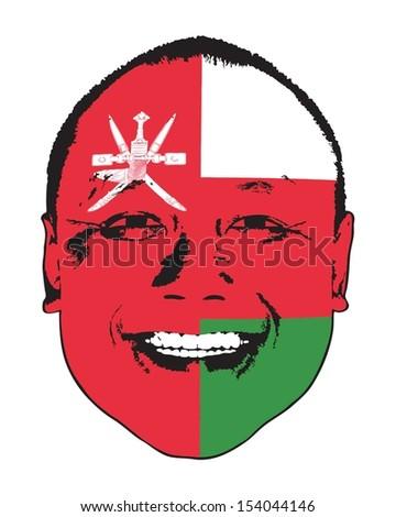 An Oman flag on a face, isolated against white.  - stock vector