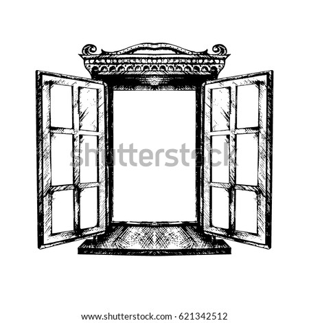 vintage window drawing. an open antique window. vector illustration isolated. monochrome graphics, architecture, exterior. vintage window drawing