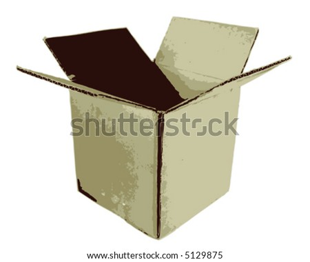 An open cardboard box - stock vector