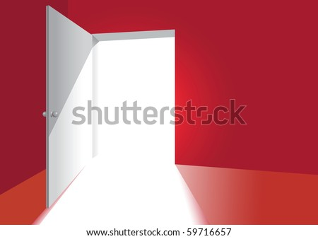 an open door in a red room - stock vector