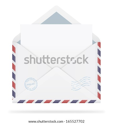An open envelope with stamps and letter on white background. Vector illustration. Realistic. Air mail. - stock vector