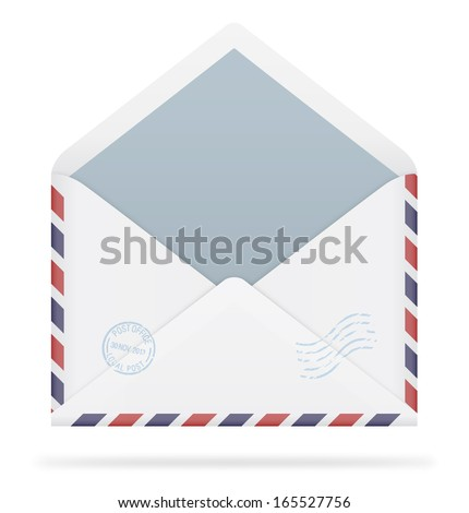 An open envelope with stamps on white background. Vector illustration. Realistic. Air mail. - stock vector