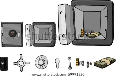 An open or closed vault with cash inside. Includes isolated elements with optional parts. - stock vector