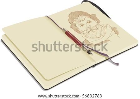 An open sketchbook, on white background, showing a portrait drawn with fountain pen. - stock vector