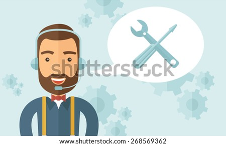 An operator man with headset customer service heldesk service with screwdriver and combination wrench inside bubble. Call center concept. A contemporary style with pastel palette, soft blue tinted - stock vector
