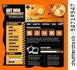 An orange and black internet website template for your business. There is a globe earth in the corner and a mouse on it. The header is abstract and there is navigation and buttons for your text. - stock vector