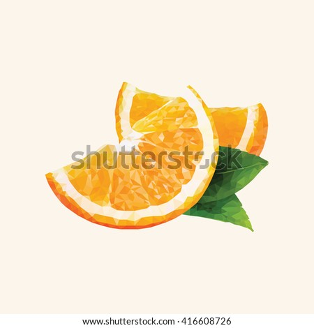 An orange in triangulation technique on yellow background - stock vector