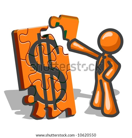 An orange man assembling a large puzzle with a dollar sign on it, showing the nature of budgeting or financial planning. - stock vector