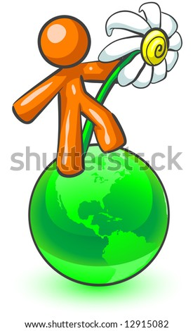 An orange man holding a large daisy while standing on top of a green earth. - stock vector
