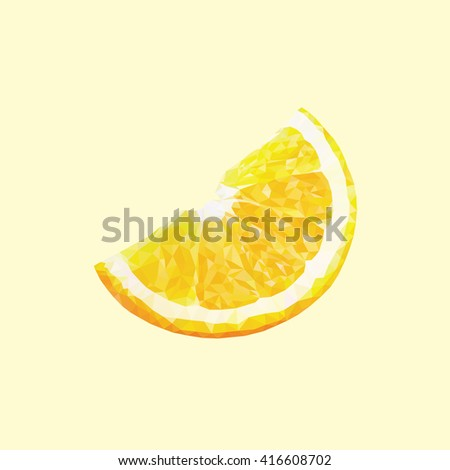 An orange or lemon in triangulation technique on yellow background - stock vector
