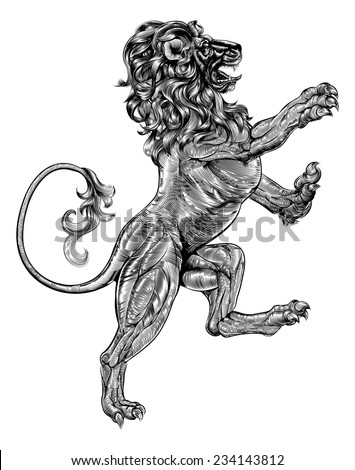 An original illustration of a heraldic rampant lion in a vintage woodblock style - stock vector