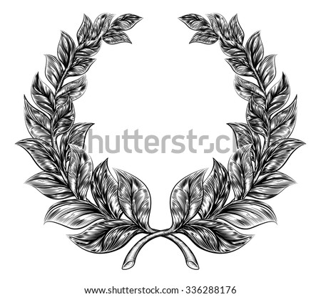An original illustration of a laurel wreath in a vintage woodblock or woodcut style - stock vector