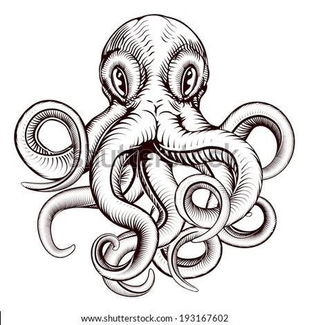 An original illustration of an octopus in a dynamic woodblock style - stock vector