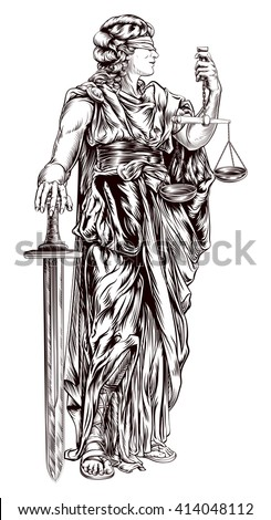 An original illustration of Lady Justice holding scales and sword and wearing a blindfold in a vintage woodblock style - stock vector
