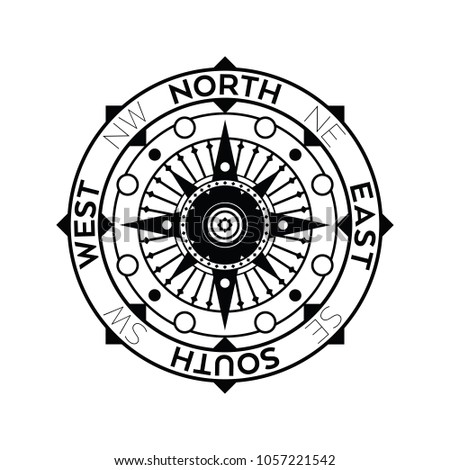 An Ornate Nautical Compass Design In Black And White