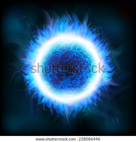 An outer space background with a blue star. Layered. - stock vector