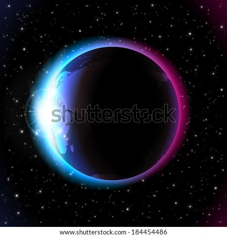 An outer space background with a planet, sky and stars. Layered.
