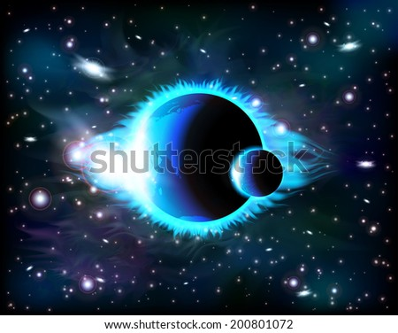 An outer space background with a planet, sky and stars. Layered. - stock vector