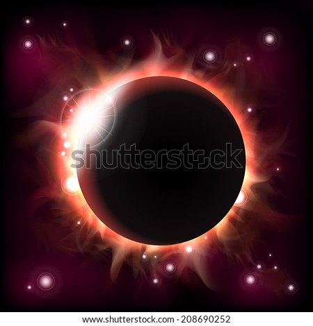An outer space background with an eclipse and stars. Layered.