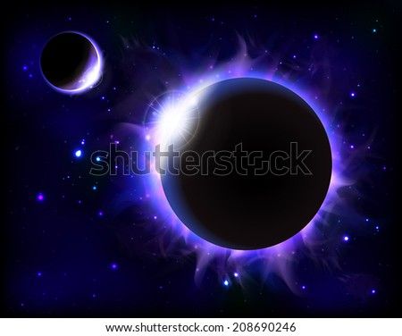 An outer space background with an eclipse, planets and stars. Layered.