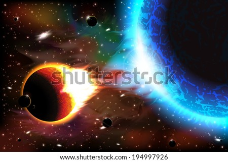 An outer space background with burning planets, sky and stars. Layered. - stock vector