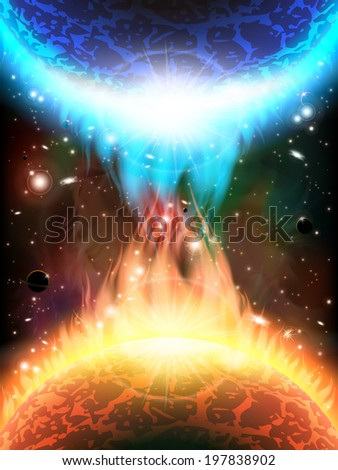 An outer space background with planets, sky and stars. Layered. - stock vector