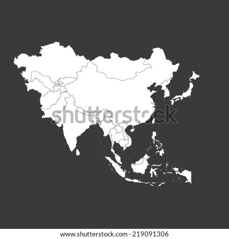 An Outline on clean background of the continent of Asia - stock vector