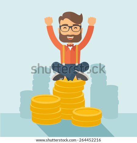 An overjoyed young hipster Caucasian man with beard sitting on the top of  coins. Happily raising his two hands to show that he is a winner. Happy, winner concept. A contemporary style with pastel - stock vector