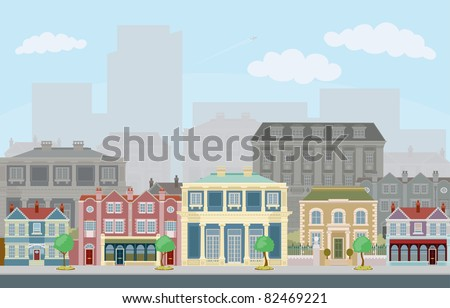 An urban street scene with smart townhouses and skyscrapers in the background - stock vector