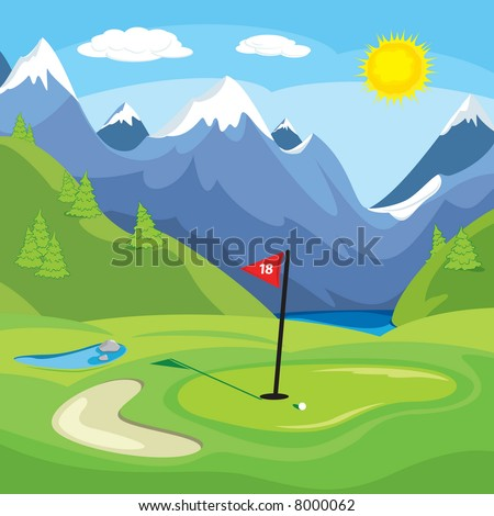 An vector illustration of a golf green with mountains in the background.