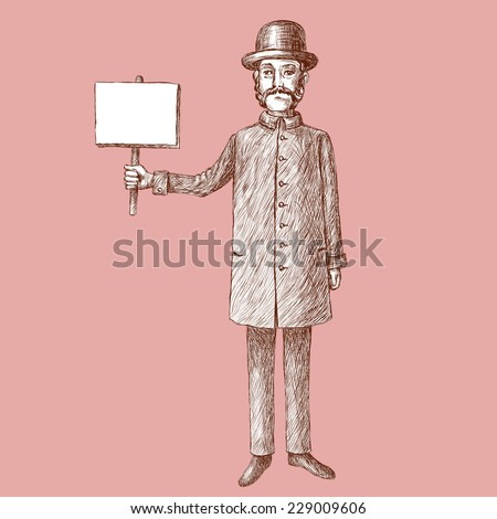 An vintage styled 19th century man - stock vector