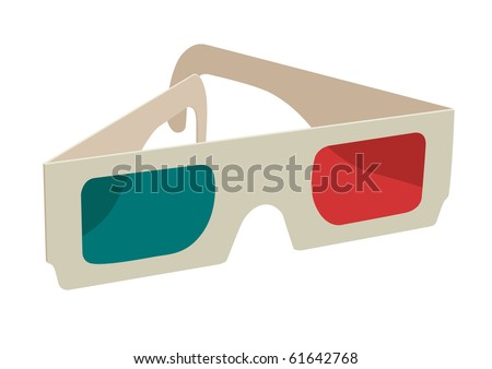 ana-glyph 3D glasses on white - stock vector