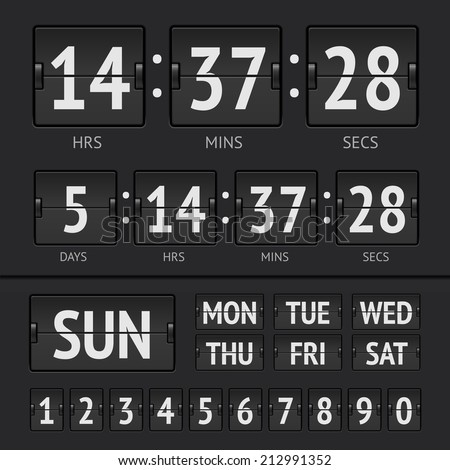 Analog black scoreboard digital week timer. Vector illustration
