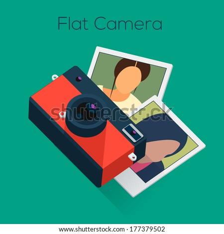 Analog Camera Flat Design, vector illustration.  - stock vector