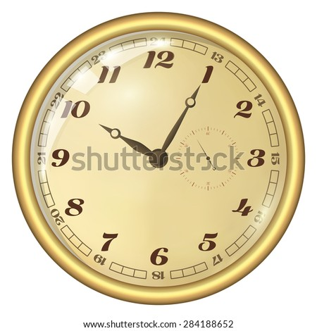 Analog Clock Isolated on a White Background. Vector Clock with Large Numerals - stock vector