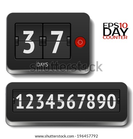Analog 3D flip day counter isolated on white