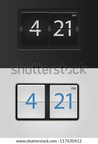 analog flip clock vector numbers are easy to replace - stock vector