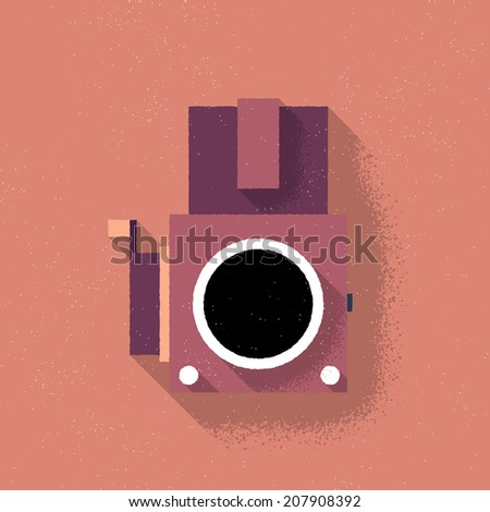 Analog Middle Format Film Camera - Vector Illustration - Flat Design - stock vector