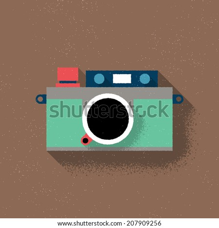 Analog Rangefinder Film Camera - Flat Design - Vector Illustration - stock vector