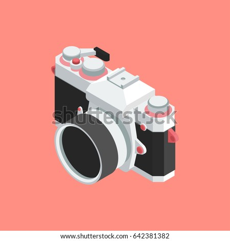 Analog SLR Camera Vector Illustration VOL.01 - Flat style vector 3d isometric illustration for your webdesign or print