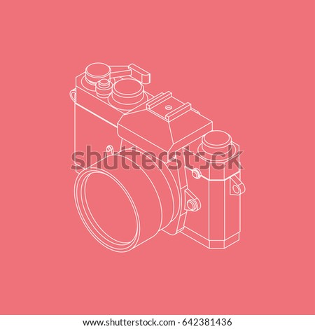 Analog SLR Camera Vector Illustration VOL.02 - Thin flat line style vector 3d isometric illustration for your web design or print