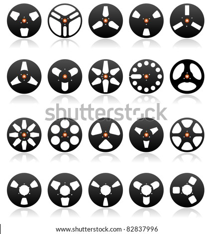 Analog Stereo Tape Reel Icon set, vector - stock vector
