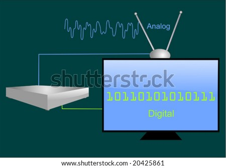Analog to digital signal with lcd tv and converter box - stock vector