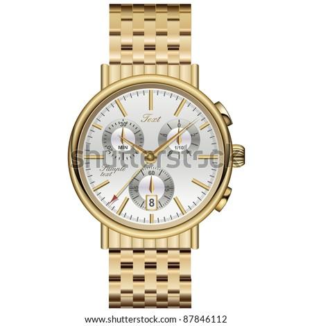 Analog watch elegant luxury gold. - stock vector