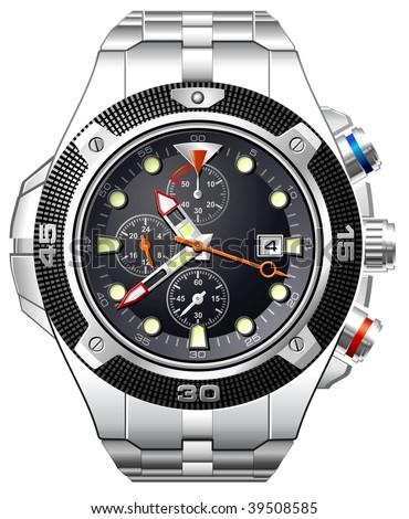 Analog watch mens wristwatch - stock vector