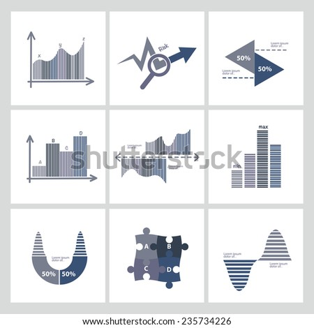 Analysis,Business and economic icon set,clean vector - stock vector